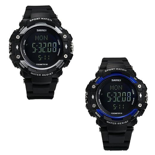 LANCARDO Reloj Deportivo Impermeable de 50M Multifunción de Pulsómetro Podómetro Cronógrafo Pulsera Digital con Luz Monitor de Salud para Deportes ...