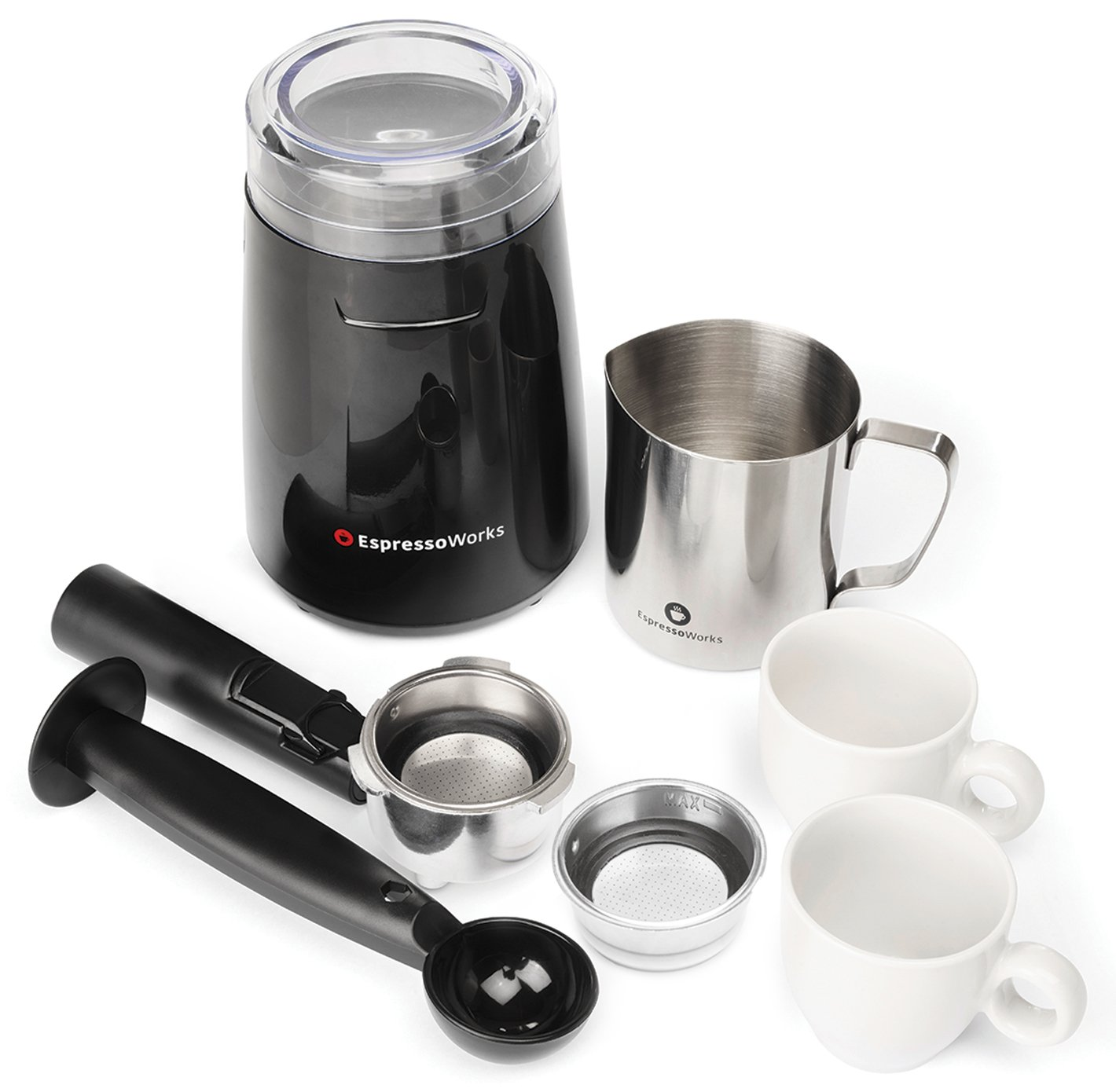 7 Pc All-In-One Espresso/Cappuccino Machine Bundle Set- (Includes: Electric Coffee Bean Grinder, Portafilter, Stainless Steel Frothing Cup, Measuring Spoon w/ Tamper & 2 Espresso Cups), Silver/Black by EspressoWorks (Image #3)