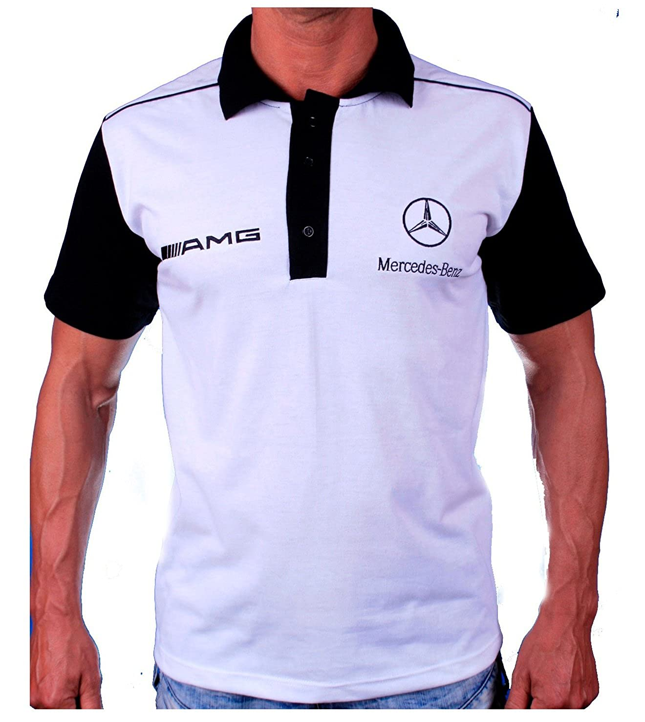 Mercedes Logo Benz AMG - Polo Blanco de algodón para Hombre (L ...