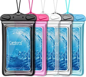 Floatable Waterproof Phone Pouch, Cambond Universal Waterproof Case for iPhone 11 pro Xs Max XR X 8 7 6 Plus, Lanyard Dry Bag Waterproof Pouch for Snorkeling Pool Beach Kayaking Travel, 5 Pack