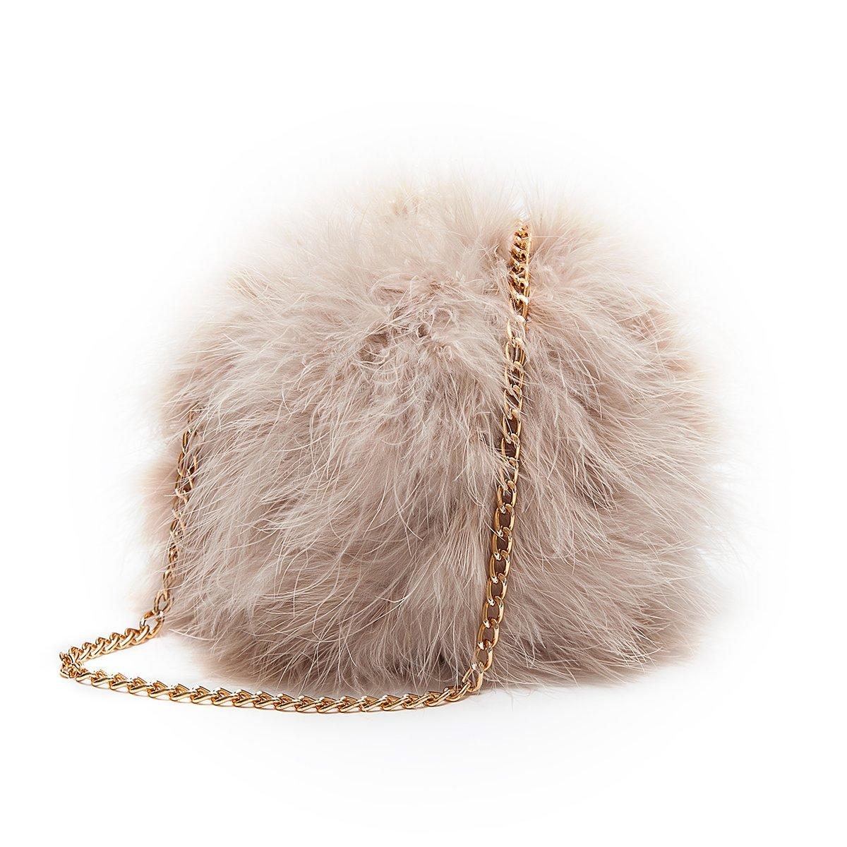 3ca8fc44c88c Flada Women s Faux Fluffy Feather Round Clutch Shoulder Bag Apricot   Handbags  Amazon.com