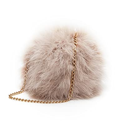 Flada Women s Faux Fluffy Feather Round Clutch Shoulder Bag Apricot ... 383bb9eb5feb5