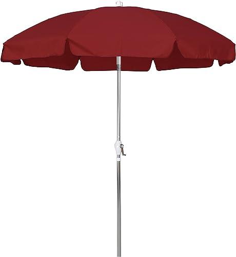 California Umbrella 7.5 Round Aluminum Patio Umbrella with Valance, Crank Lift, 3-Way Tilt, Silver Pole, Red Olefin