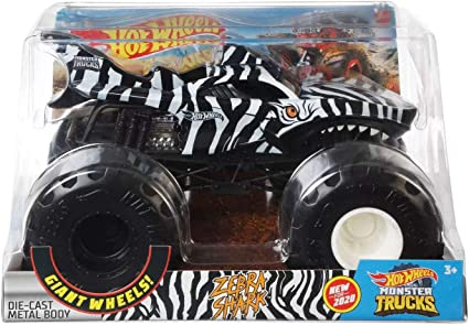 Amazon Com Hot Wheels 2020 Monster Trucks 1 24 Scale Metal Body Zebra Shark Black White Toys Games