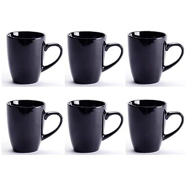 LEANDALE Black Ceramic Cup set,Coffee Mug Set,10 OZ (Black-set of 6)