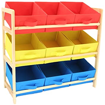 Hartleys 3 Tier Storage Unit with 9 Canvas Bins