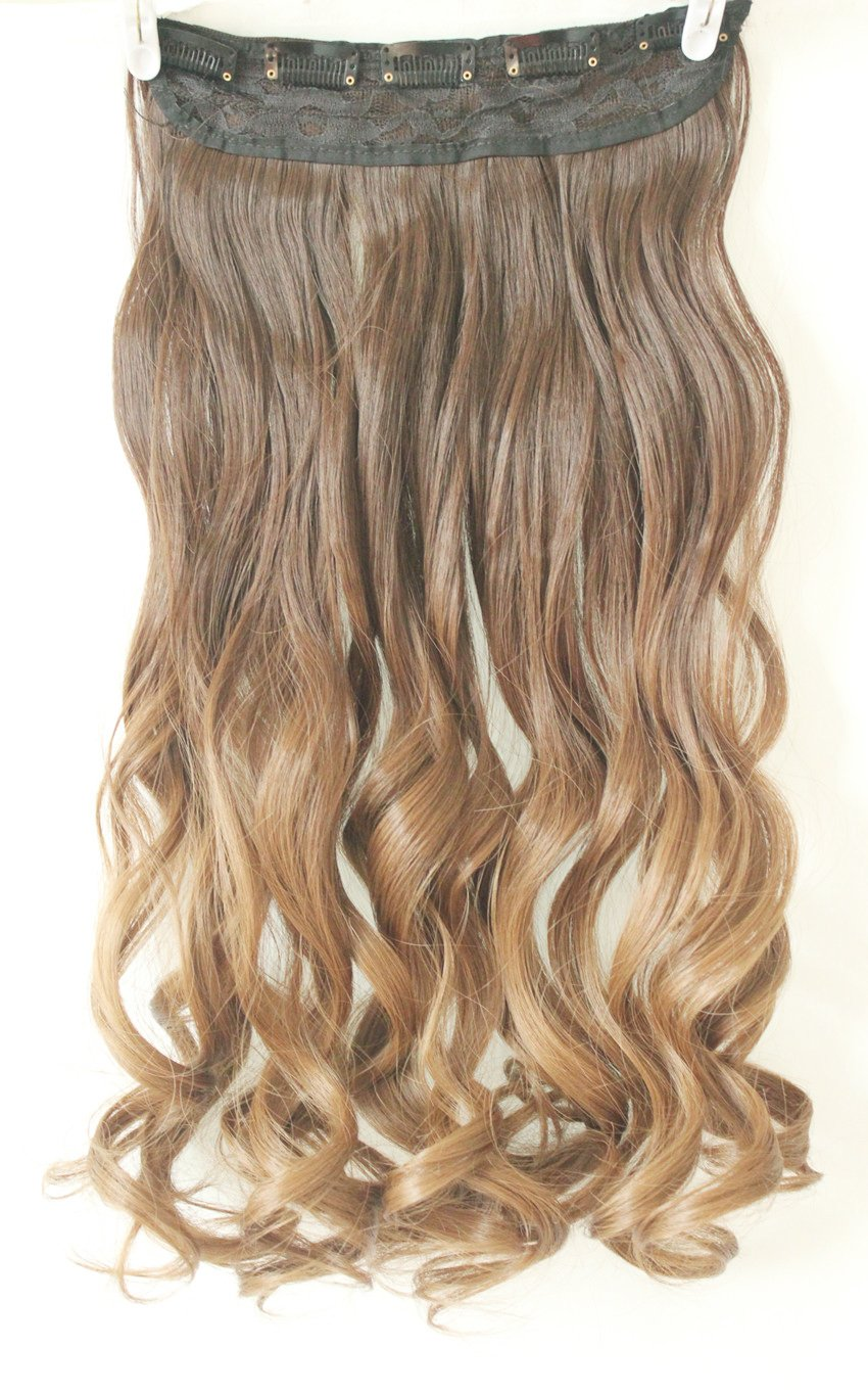 Amazon One Piece Clip In Hair Extensions Ombre Dip Dye Wavy
