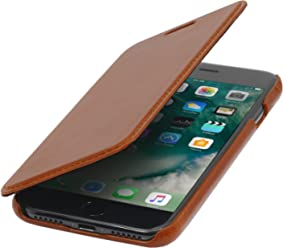 StilGut Book Type Case, Custodia a Libro Booklet Custodia Orizzontale, Cover Apertura Laterale in Vera Pelle per Apple iPhone 8 Plus, Cognac