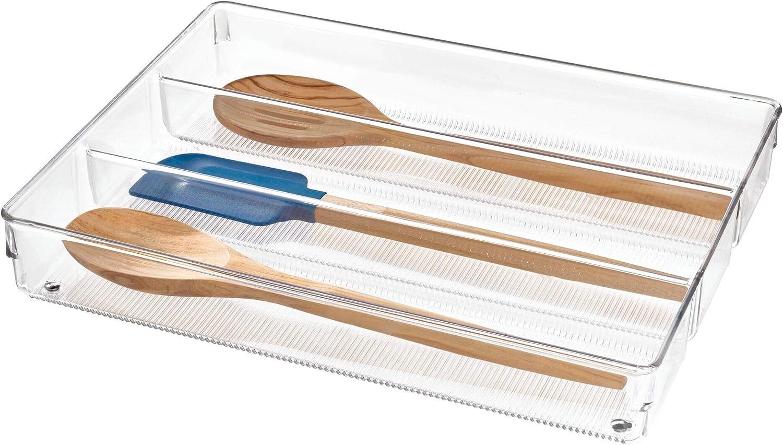 iDesign Cubertero para dividir cajones, separador de cajones grande de plástico para cubiertos y otros utensilios, organizador de cajones con 3 compartimentos, transparente