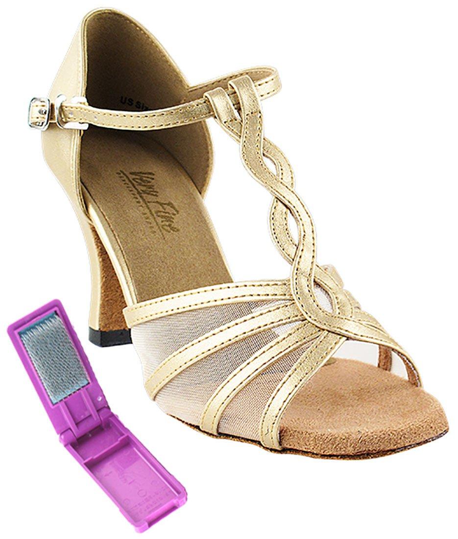 Very Fine Ballroom Latin Tango Salsa Dance Shoes for Women 1692 2.5 Inch Heel + Foldable Brush Bundle B01MTC5N69 4.5 B(M) US|Light Gold Leather & Flesh Mesh