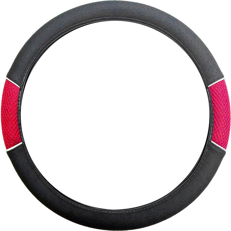 UKB4C Racing Steering Wheel Cover/Glove Red Leather Look Mesh