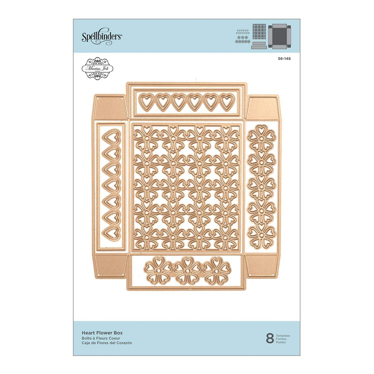 Amazon.com: Spellbinders Shapeabilities Heart Flower Box Etched/Wafer Thin Dies