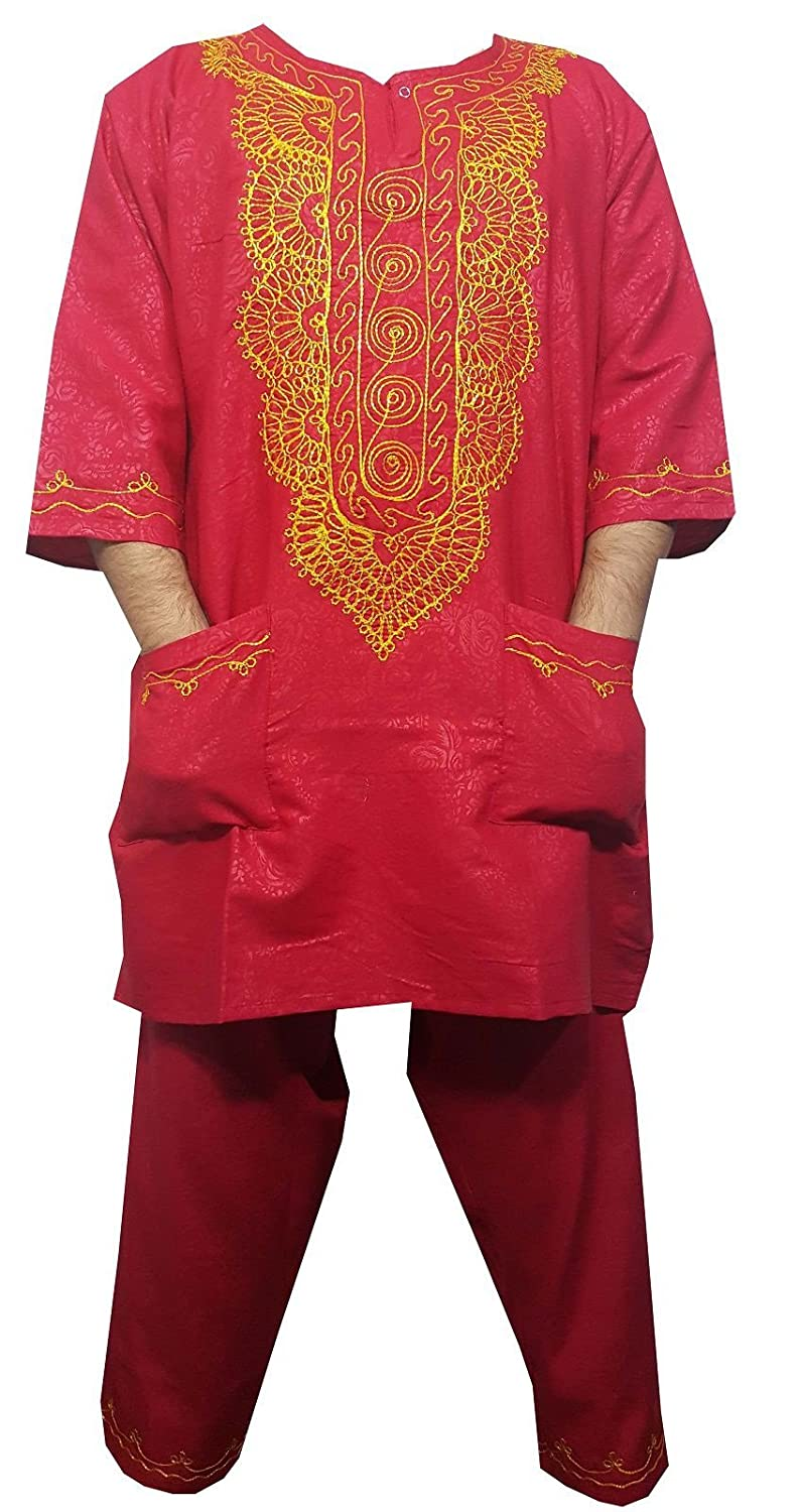 Decoraapparel Mens Dashiki Pant Set African Suit Gold embroidered with Hat One Size 311350060428