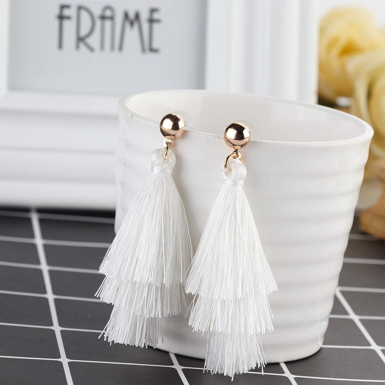 Finrezio 4Pairs Tassel Earrings Handmade Bohemian Fan Shape Drop Earrings Long Layered Dangle Earrings Fashion Jewelry Gift Set for Women Girls