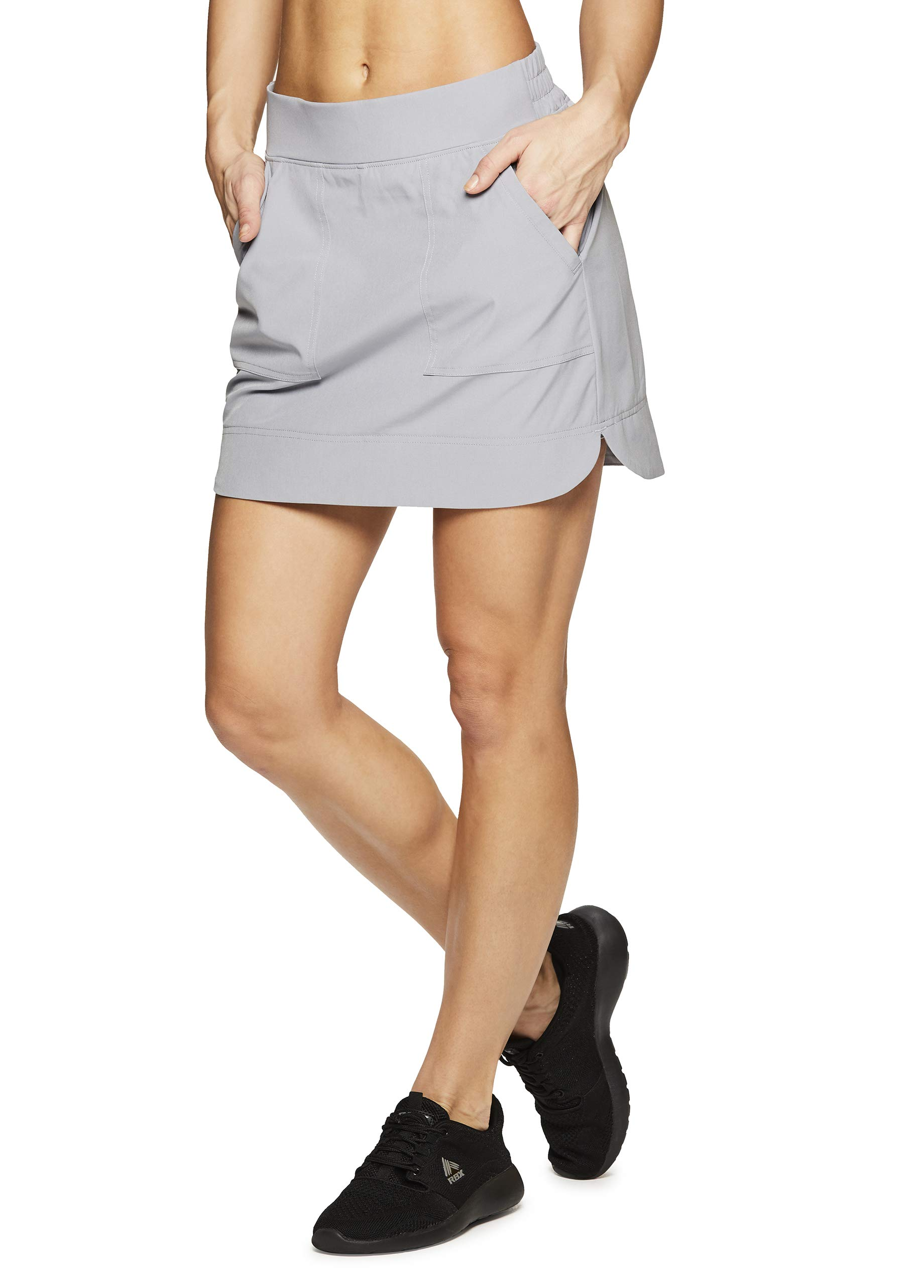 RBX Active Women's Golf/Tennis Athletic Skort with Bike Shorts and Pockets Spring Grey S