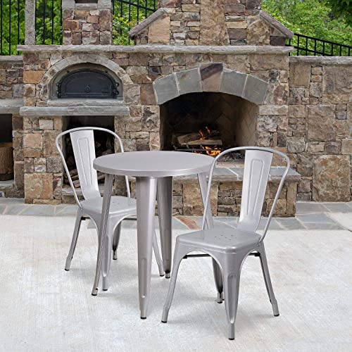 Flash Furniture Commercial Grade 24″ Round Silver Metal Indoor-Outdoor Table Set