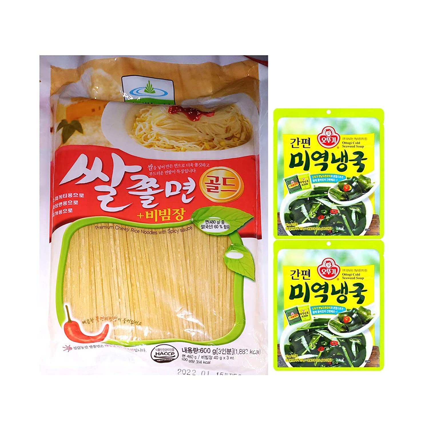 Korean Premium Chewy Rice Noodles wt Spicy Sauce 600g + 2 Seaweed Cold Soup Easy Cooking 쌀쫄면