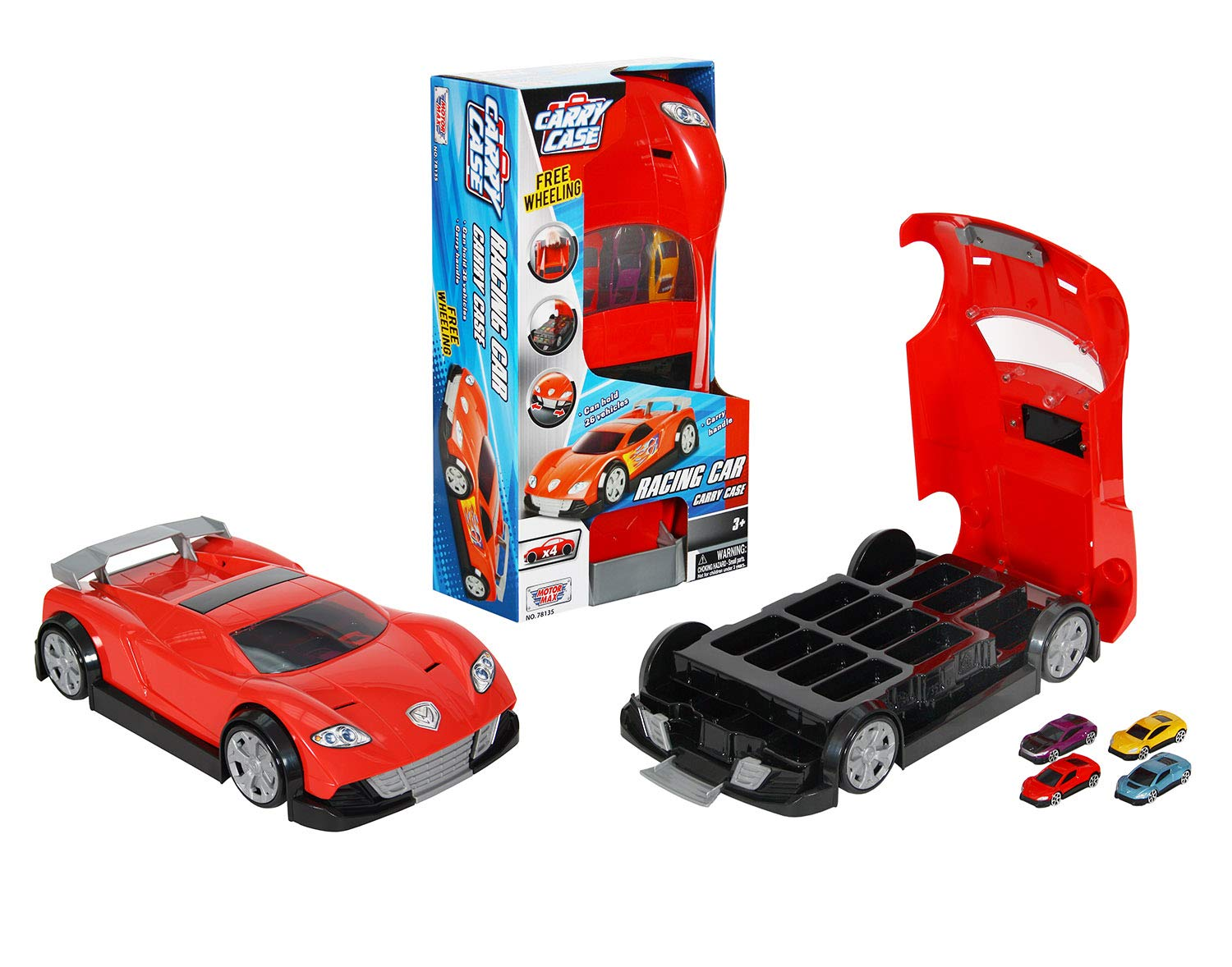 Trays are Included Ages 3+ New Motor Max Racing Car Carry Case with Carry Handle Contains 4 Cars Can Carry 26 Cars