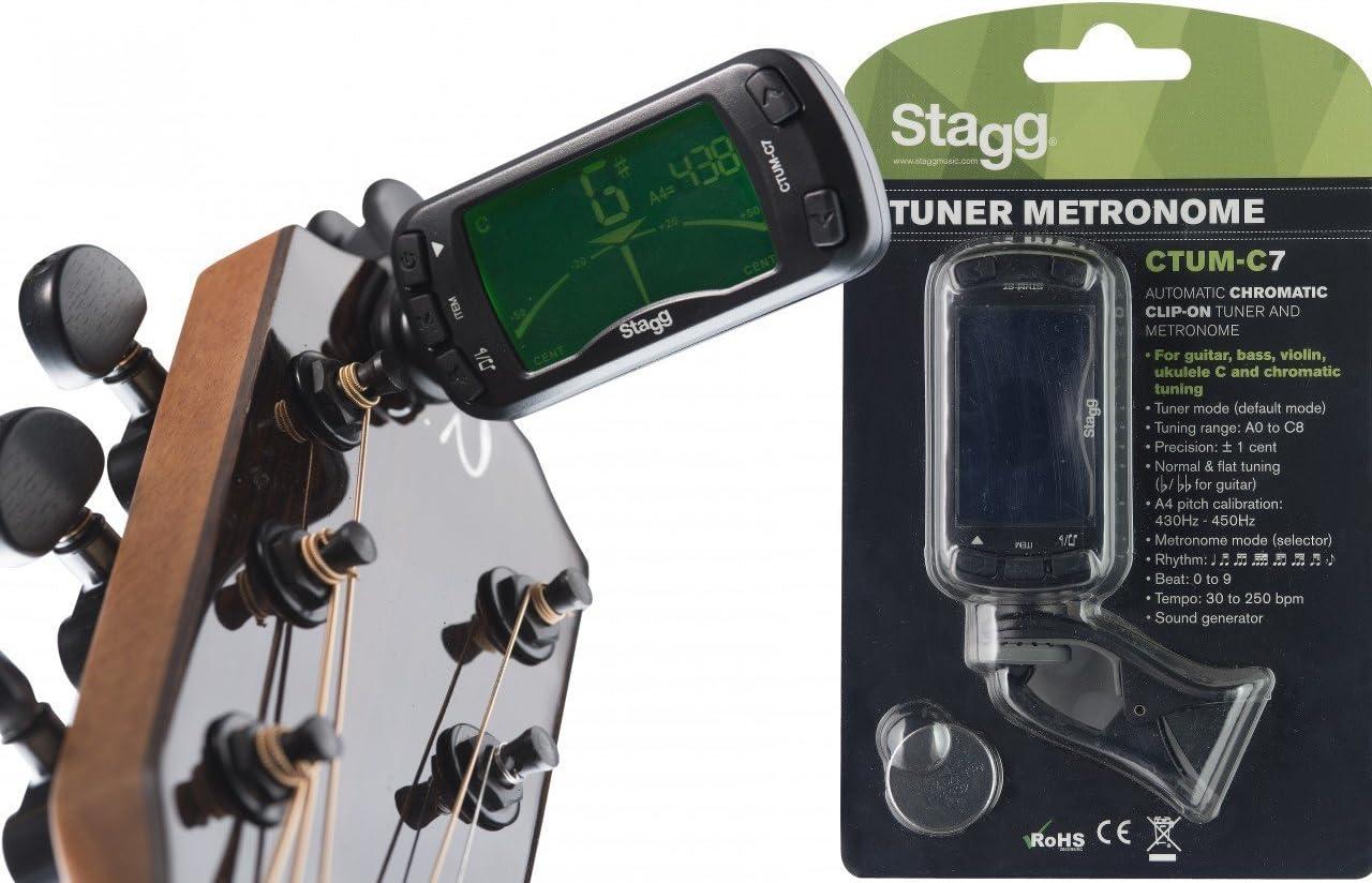 Stagg 21016 automático Afinador Cromático Clip-on Sintonizador con ...