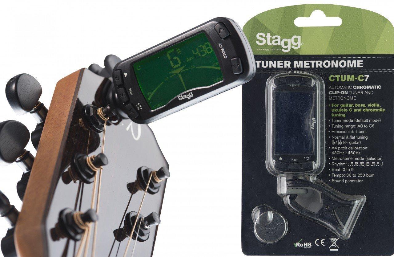 Stagg 21016 automático Afinador Cromático Clip-on Sintonizador con metrónomo: Amazon.es: Instrumentos musicales