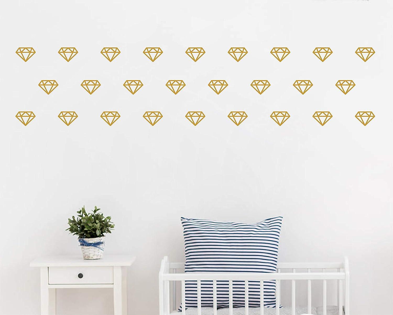 Diamond Wall Decals,Wall Art, Geometric Decor,Vinyl Wall Stickers for Baby Kids Bedroom Nursery Decoration(A15) (Dumb Gold)
