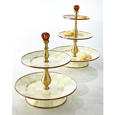 Parchment Check Two-Tier Sweet Stand, CREAM/WHITE