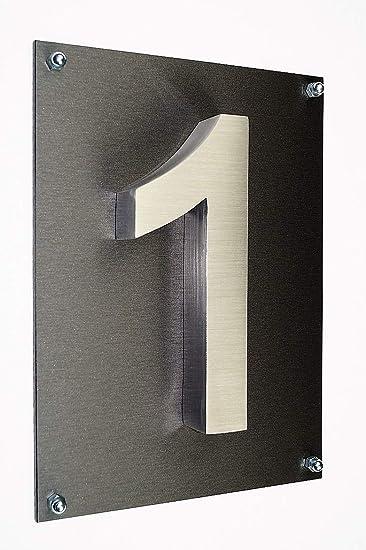 Acero inoxidable - Número de Casa/Cartel nº 1 en 3d de ...