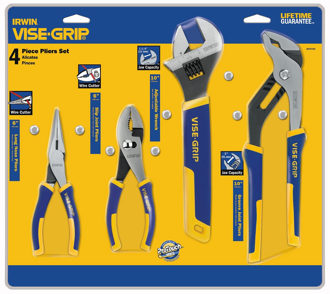 IRWIN Tools Long Nose, Slip Joint, Adjustable Wrench and Groove Joint ProPliers Set, 4-Piece (2078705) by IRWIN