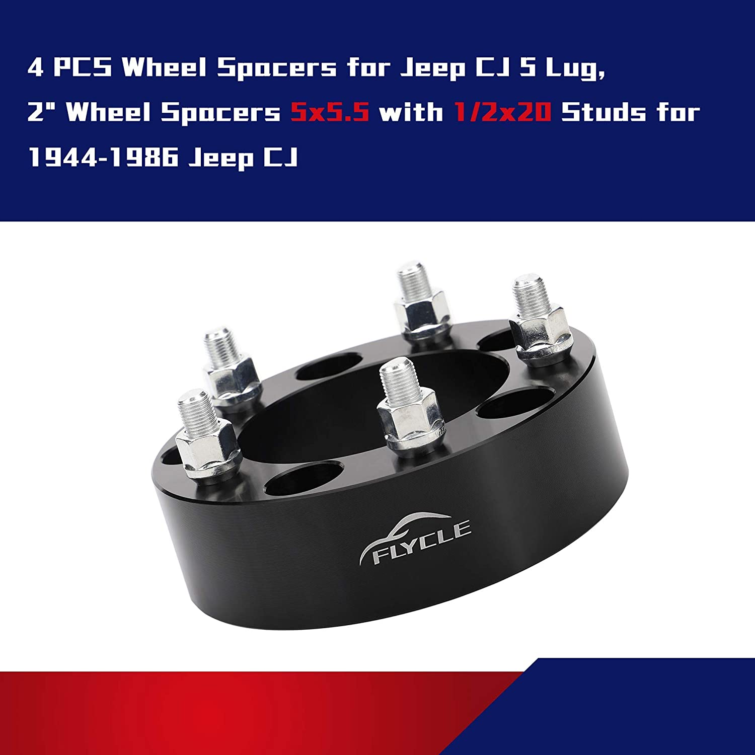 4pcs 2 inch Wheel Spacers 5x5.5 to 5x5.5 for 1994-2001 Dodge Ram 1500,1992-2006 Ford E150 1944-1986 Jeep CJ with 1//2-20 Studs