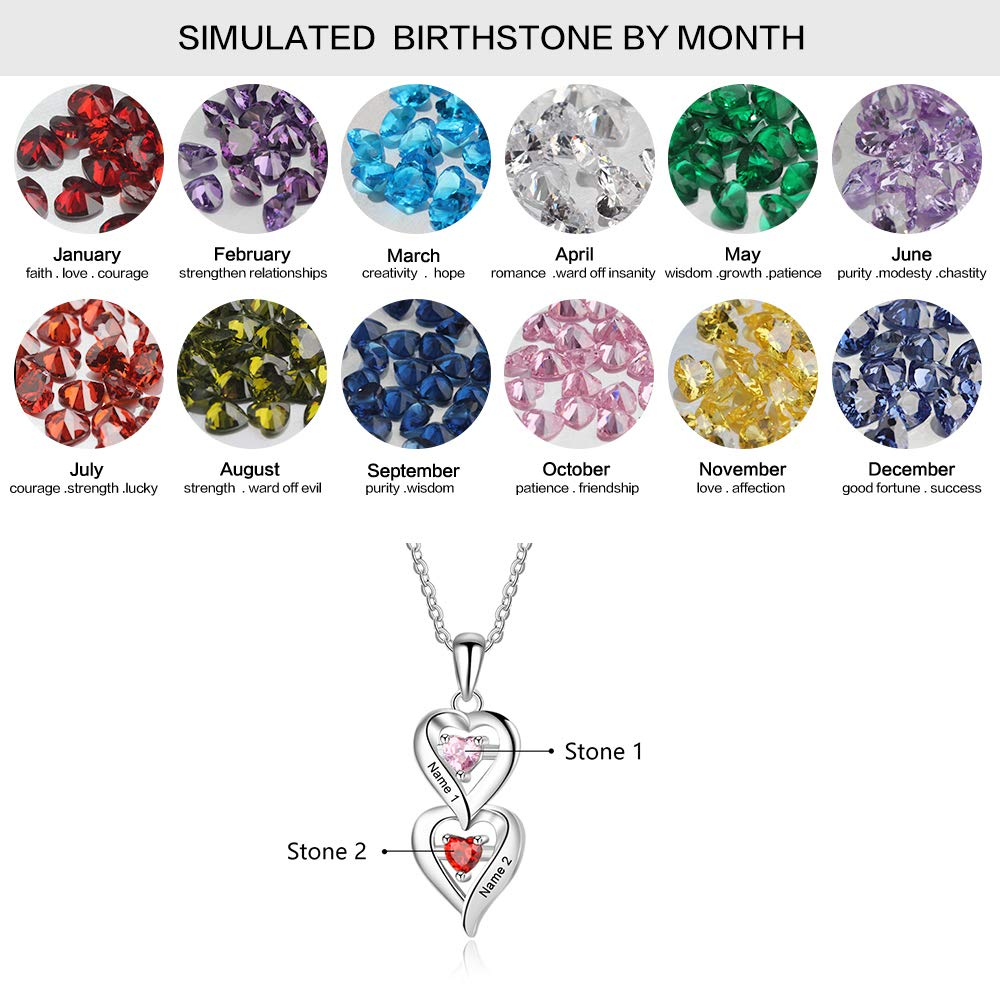 ROSI Personalized Mother Necklace 2 Names Necklace Couple Necklace with 2 Heart Simulated Birthstone Promise Infinity Pendant Necklace for Her