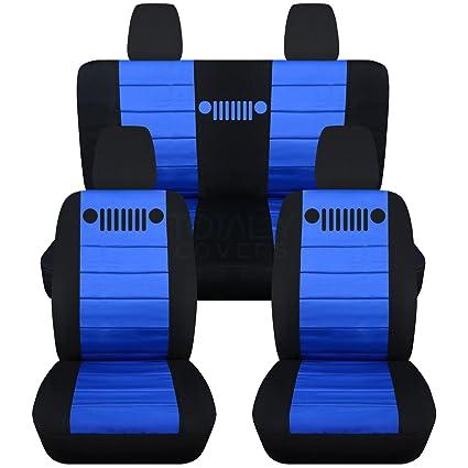 Jeep Wrangler Seat Covers >> Totally Covers Fits 2018 2019 Jeep Wrangler Jl Seat Covers Black Blue Full Set Front Rear 23 Colors 2 Door 4 Door Solid Split Bench Back