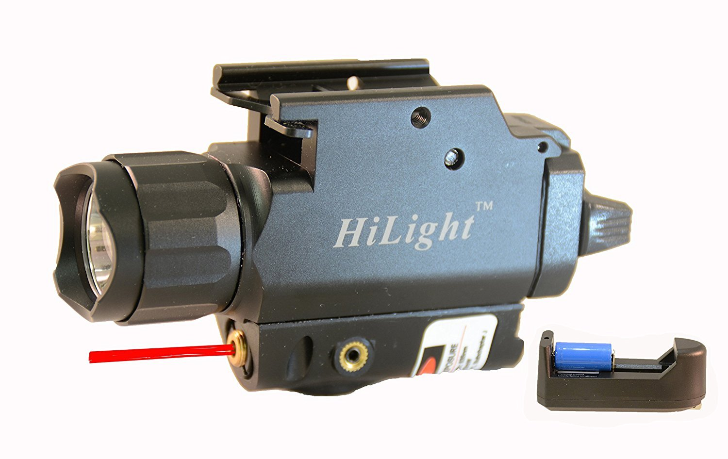 HiLight 500 Lumen Rail-Mounted Tactical Pistol Flashlight and Laser Sight Combo (w/Red Laser)
