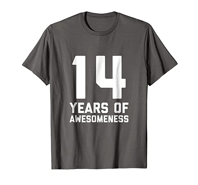 Mens 14th Birthday Shirt Gift Age 14 Year Old Boy Girl Tshirt Tee 2XL Asphalt