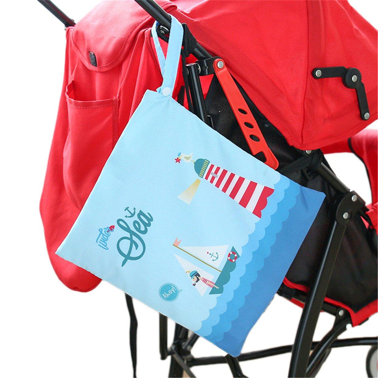 Lalang Sac à couches lavables étanche zippé pour bébé sac de rangement pour poussette (Voile) 88_Store