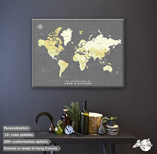 Canvas Push Pin Travel Map Personalized World Map With Pins Fine - Personalized world map with pins