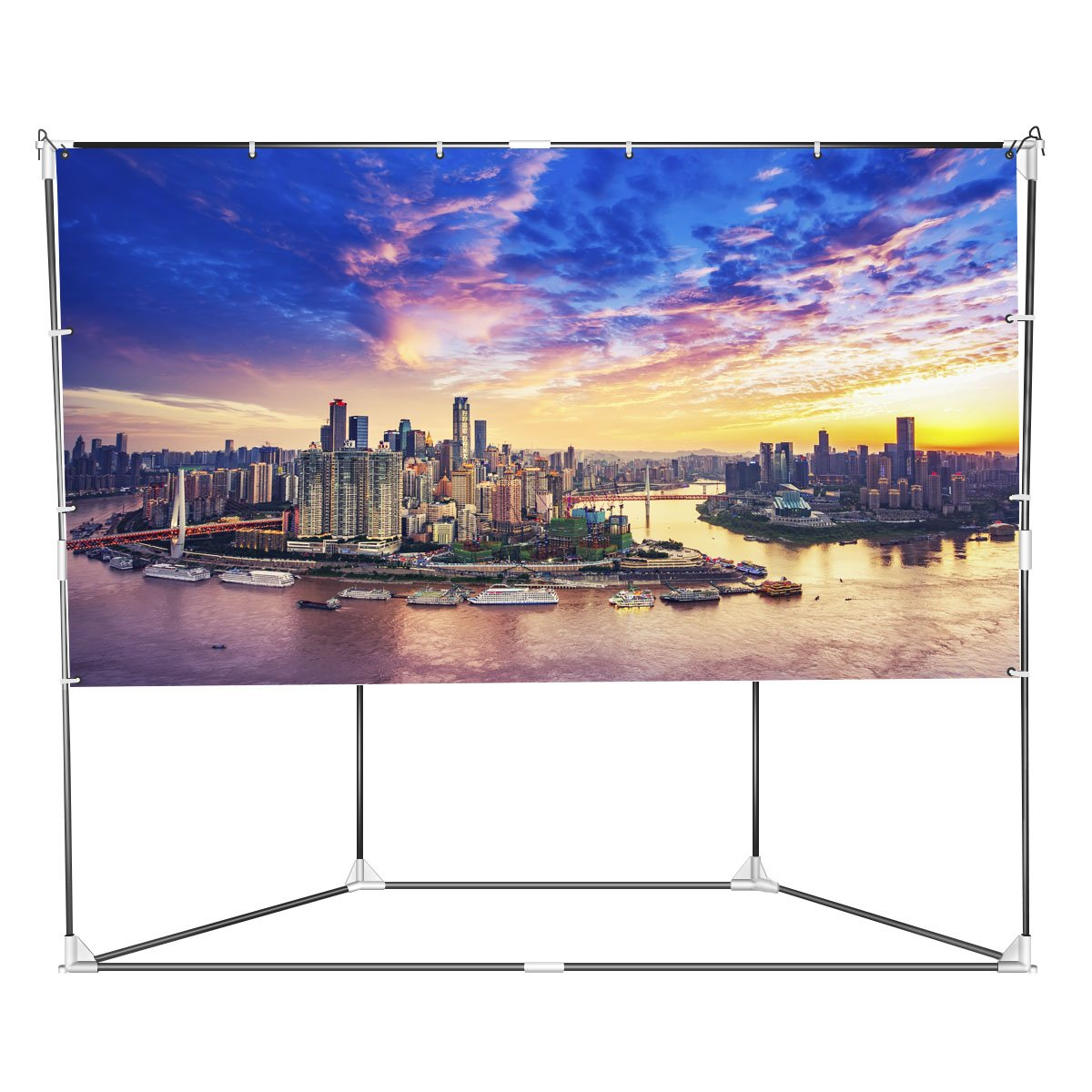 Auledio Outdoor Projector Screen, 100'' 16:9 Foldable Portable Projection Screen + Setup Stand + Transportable Bag Full Set for Camping and Recreational Events