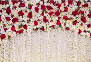 AOFOTO 7x5ft Girl Newborn Baby Photography Backdrops Red White Roses Flowers Wall Wedding Shower Photo Background Cloth Kids Adutls Birde Portrait Photo Shoot Props Vinyl Wallpaper