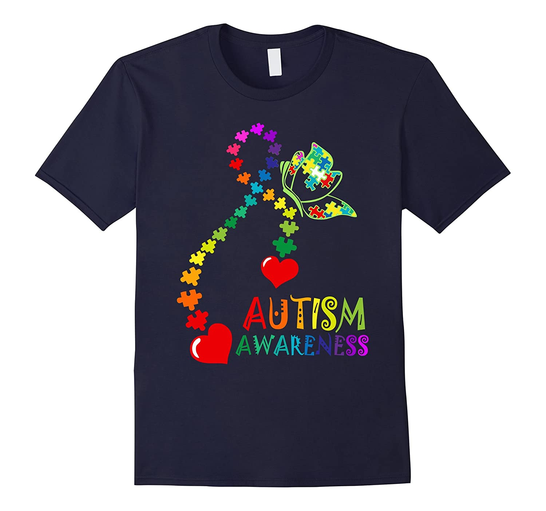 Autism Awareness T-Shirt Rainbow Ribbon Puzzle Heart Tee-CD