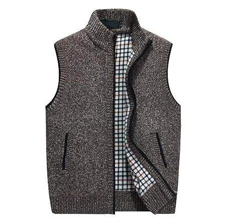 GKKXUE Herren Strickwolle Weste, Herbst Winter warme Pullover Weste Vater Geburtstagsgeschenk Größe M bis XXXXL (Farbe : Brown, größe : XL)