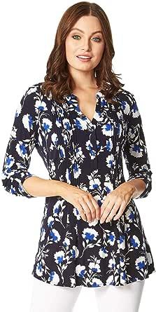 Roman Originals - Camisa con estampado floral para mujer, para todos los días, informal, con muesca acampanada, cuello de 3/4, manga larga