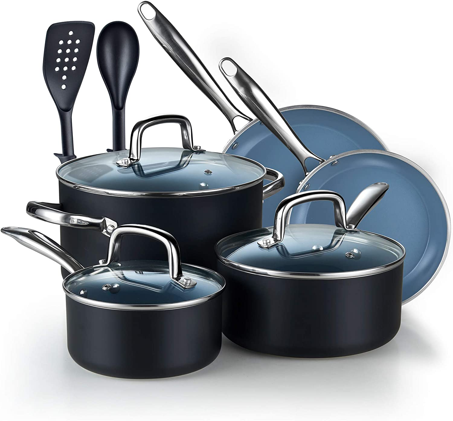 Cook N Home 10 Piece Nonstick Ceramic Coating Cookware Set, PC, Grey