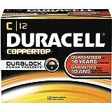 Duracell MN140012 CopperTop Alkaline Batteries with Duralock Power Preserve Technology, C, 12-Pack