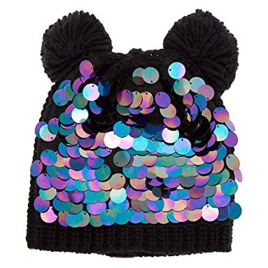 6675074568a Image Unavailable. Image not available for. Colour  Claire s Girl s Chunky  Sequin Bear Ears Beanie - Black