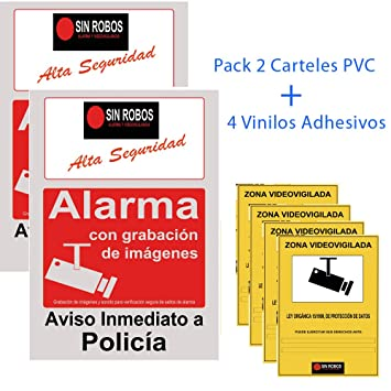 Docliick®. Pack 2 Cartel alarma casa gris.Cartel disuasorio ...