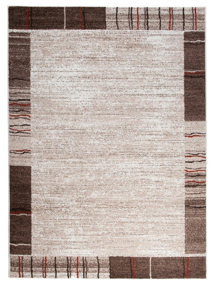 Tapiso Sari Teppich Kurzflor   Teppiche Meliert in Designer Creme Beige Braun Modern Bordüre   Abstrakt Streifen Linien Muster   Perfekt für Wohnzimmer, Gästezimmer, Esszimmer   ÖKOTEX 160 x 220 cm