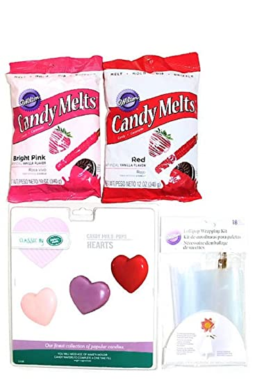 Valentine Heart Lollipop Making Bundle - Heart Candy Mold -2 Wilton Candy Melts Color Red