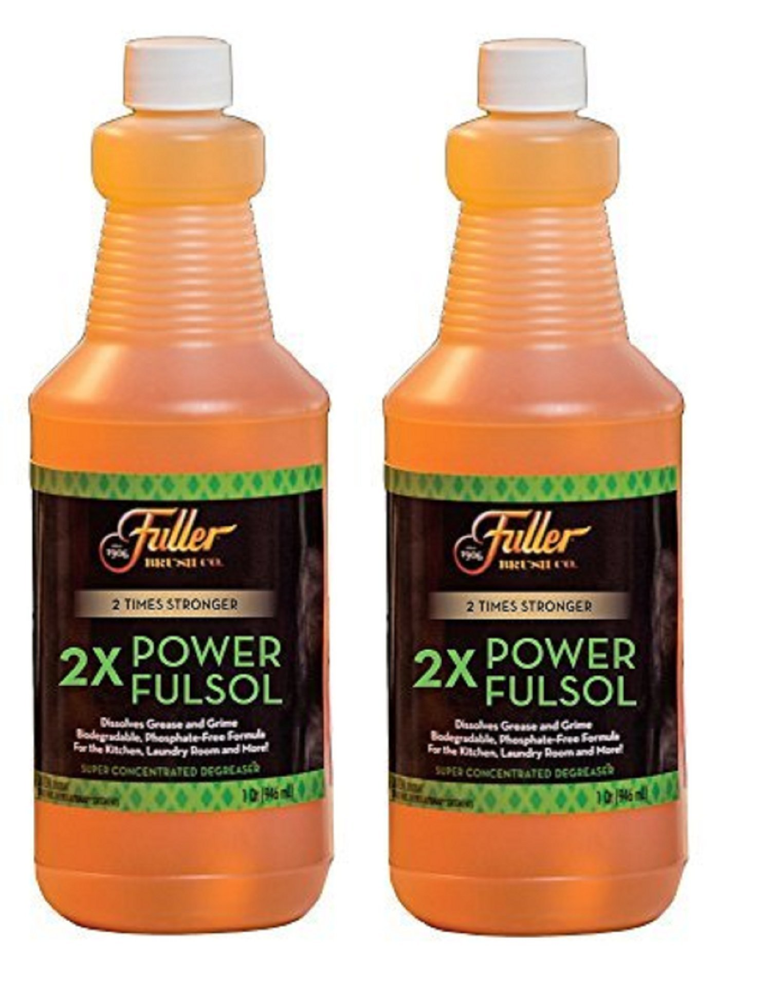 Fuller Brush 2X Power Fulsol - Super Concentrated Degreaser - Dissolves Grease & Grime - Makes 30 Gallons of Cleaning Power - 1 Qt. - 2 Pack