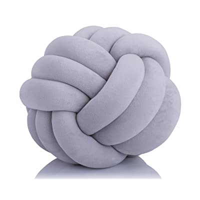 Aminiture Knot Ball Cushion Pillows -Children Room Decoration Plush Toys Baby Photography Props (Grey 11inch): Home & Kitchen