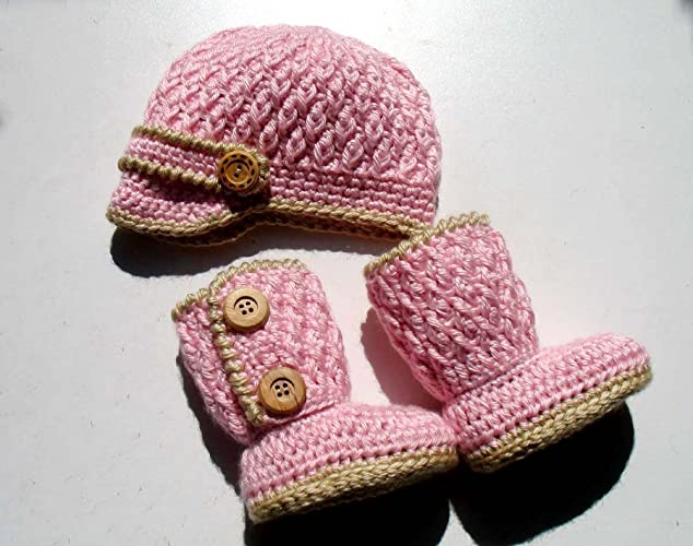 Crochet Baby Set Handmade Buttoned Baby Booties and Visor Beanie Hat  Newborn Baby Boy Baby Girl Pink Beige Grey Baby Shower Gift Christmas Made  in USA Free ... 6f871606241