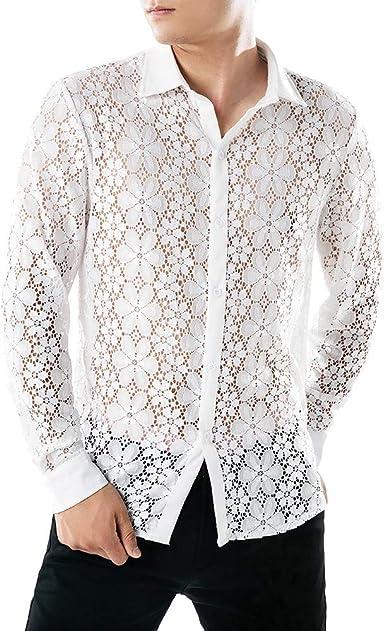 Camisas Hombre Manga Larga Camisa Fiesta Hombre Camisa Transparente Camisa Encaje Sexy Camisa Slim Fit Camisa Delgada Personalidad Tops Casual Club Nocturno Danza Traje de Baile: Amazon.es: Ropa y accesorios